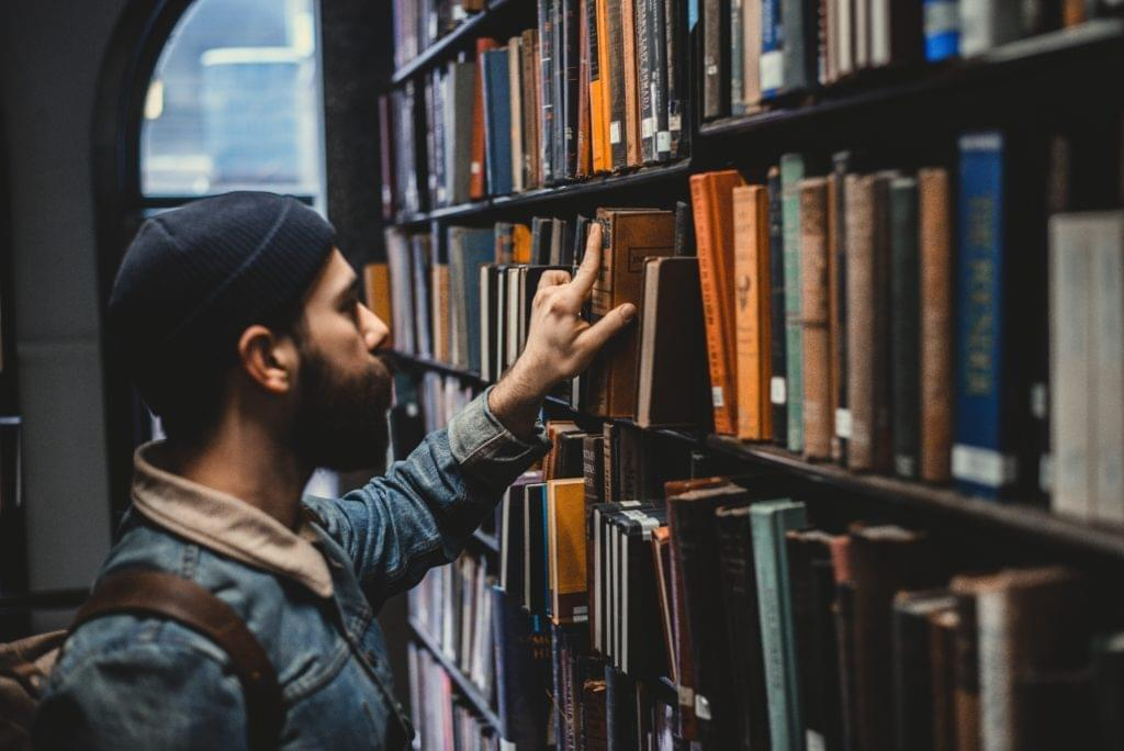 man at a library