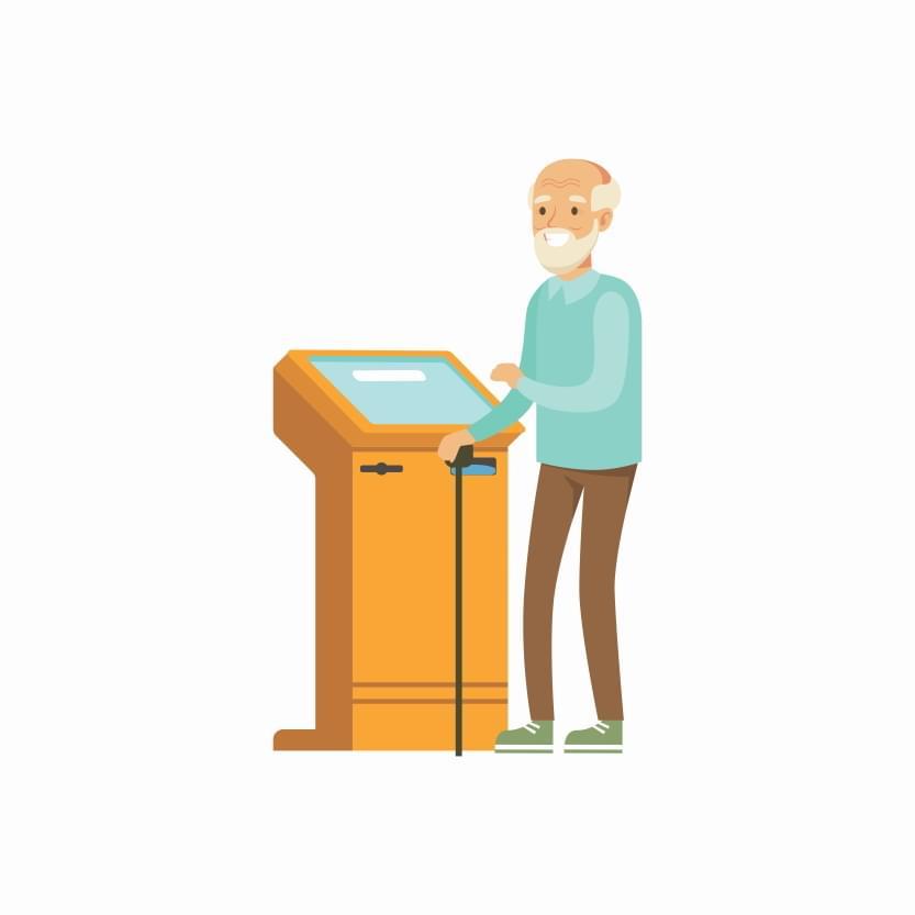 old man at a self-service kiosk