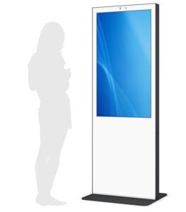 Digital Signage Stele in weiß mit Glasfront von eKiosk