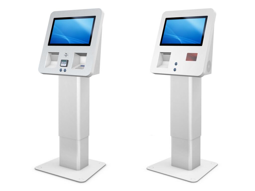 SACHMET - Digitales Kiosksystem mit höhenverstellbarem Fuß von eKiosk