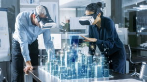 zwei Personen mit VR Brillen
